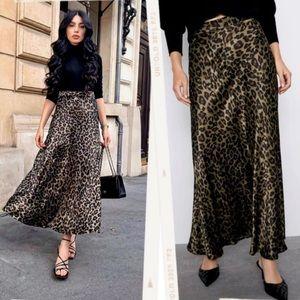 Zara Long Satin Animal Print Maxi A-line Skirt XS
